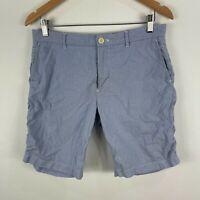 Marcs Mens Shorts 31 Blue White Striped Pockets Zip Closure Bermuda