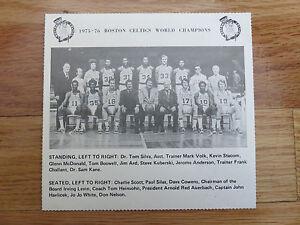 1975-76 BOSTON CELTICS Team Photo Schedule DAVE COWENS AUERBACH JOHN HAVLICEK