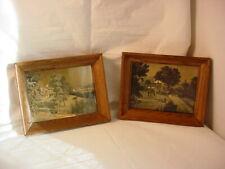 Vtg Belart Gold Foil Pictures Framed Pair Reflective Watermill River Estate
