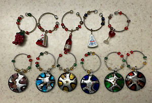 Set of 11 Wine Glass Markers/ Charms: Wine, Cheese, and Grapes, Colors, Blue Red