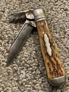 Antique E. C. Simmons Stag Handle Keen Kutter Pocket Knife **Must see!**