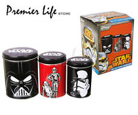 Star Wars Tin Canisters - Set of 3 Tins - Darth Vader R2-D2 & C-3PO Stormtrooper