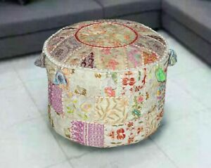 """Hand 18"""" Footstool Outdoor Patio Vintage Ottoman Patchwork Pouf Cove Home Decor"""