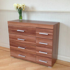 Wide Chest of 4+4 Drawers in Walnut Effect Bedroom Furniture 8 Drawer * NEW *