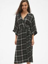 b609074a0 NWT Gap Plaid Tie-Waist Midi Wrap Dress black plaid SIZE XXL #368283 E1201