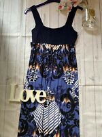 Monsoon Size 12 strappy summer holiday maxi jersey stretch dress floor length