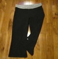 LULULEMON boogie crops sz 10 black with contrast classic white striped waistband