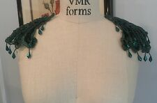 Bead Sequin EPAULETTE Mirror Image Applique (2 pc set) GREEN *WOW*