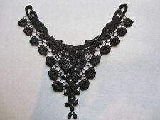 2x Negro Bordado Encaje Lentejuelas Negro Coser En Apliques Collar Motif
