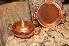 Dollhouse Accessory Miniature Metal Color Copper Pot with Lid and Pan Diorama