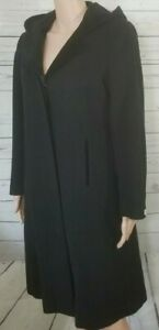 Rothschild Wool Dress Coat Girls Size 16.5 Black Long Coat w Hood