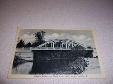 1940s HIGHWAY BRIDGE & RHONE RIVER DELHI ONTARIO VTG POSTCARD