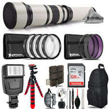 650-1300mm Telephoto Lens Canon EOS 6D 70D + Flash + Backpack - 128GB Kit