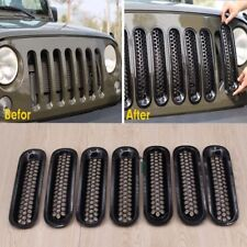2acac0e4 7pc Trim Grille Cover Insert Mesh Grill Replace For Jeep Wrangler JK 07-16  Black