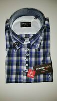 Men's 7 Camicie CHECK BLUE, BLACK AND WHITE SLIM FIT SHIRT BRAND NEW WITH TAGS!!
