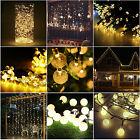 Warm White 20-300 LED String Lights Christmas Lights Decor Solar/Plug/Battery