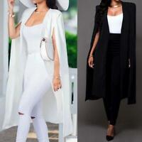 Women's Loose Long Cloak Blazer Coat Cape Cardigan Jacket Trench Outwear Top CA