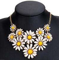 Women Crystal Flower Necklace Statement Bib Choker Chunky Collar Pendant Jewelry