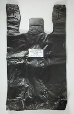 "100 Qty. Black 11.5"" x 6"" x 21"" Plastic T-Shirt Bags w/ Handles Retail Shopping"