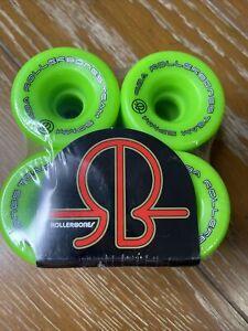 Rollerbones Team Logo 98A Recreational Roller Skate Wheels Set Of 8 57MM Green