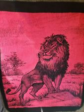 San Marcos Lion Reversible Blanket Red/black 85x 61 Mexican Vintage Throw