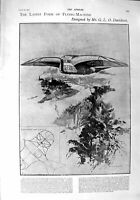Original Old Antique Print 1900 Flying-Machine Davidson Hotham Robinson Salmone