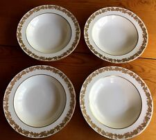 "SET OF 4 WEDGWOOD WHITEHALL Rimmed SOUP BOWLS 8"" White GOLD Grape Vine W4001"