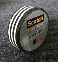 "Scotch Expressions Washi Crafting Tape Black White Stripe .59"" X 10.9Yd"