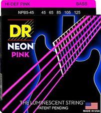 DR NPB5-45 NEON HiDef PINK COATED BASS STRINGS, MEDIUM GAUGE 5's -  45-125