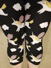 One Size OS Buttery Soft Unicorn Animal Capri Leggings Sizes 0-12