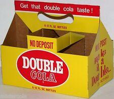 Vintage soda pop bottle carton DOUBLE COLA Double or Nothing slogan unused nrmt+