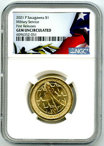 2021 P $1 SACAGAWEA NGC GEM UNC MILITARY SERVICE DOLLAR FIRST RELEASES