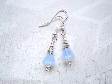 SMALL BLUEBELL PALE BLUE OPAL GLASS BELL FLOWER SP Tibetan Silver Drop Earrings