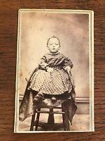 Civil War Era CDV Photo of Small Child Toddler in Homespun Dress Little falls NY
