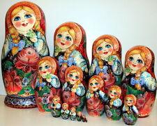 Russian doll big size 15 pc 33cm  art nesting doll complex flowers matryoshka