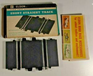 Eldon 1960s vintage short straight track section in box with catalog sheet.