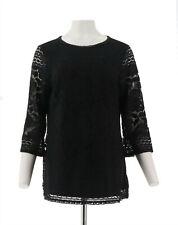 Isaac Mizrahi 3/4 Slv Scoop Neck Mixed Lace Tunic Black L NEW A300881