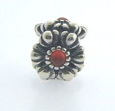 790580CAR RETIRED PANDORA STERLING SILVER CARNELIAN BIRTHDAY BLOOM NEW IN BOX