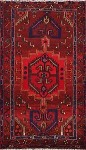 Geometric Tribal Hamedan Hand-knotted Area Rug Wool Oriental Traditional 3x5 ft