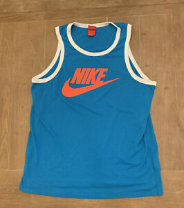 Nike Mens Blue Tank Top Pink Swoosh Spell Out Activewear Red Tag Size L