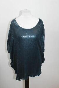 JOIE Ladies Teal Blue Silk Batwing Sleeve Scoop Neckline Sequined Blouse Size S