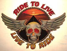70s nos Ride To Live Harley Davidson Motorcycle Skull Wings vTg t-shirt iron-on