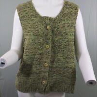 Flax Medium/Large Green Multicolor Textured Sleeveless Sweater Top/Vest