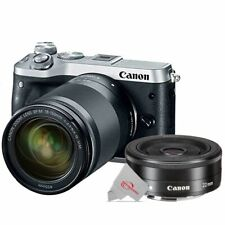 Canon EOS M6 Mirrorless Camera Silver with 18-150mm + EF-M 22mm f2 STM Lens
