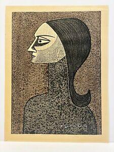 Rare Kiyoshi Saito STEADY GAZE PARIS 1960 Vintage Woodblock 35/120 Japanese Art