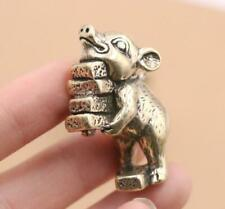 """2"""" Collect Curio Chinese Bronze 12 Zodiac Animal Lucky Small Fu Pig Statue Gift"""