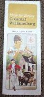 Vintage 1982 tourist brochure for Colonial Williamsburg, Virginia -D9-25