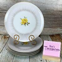 Vintage Sango Fine China DAWN Yellow Rose Gold Trim Round Dinner Plates Set Five