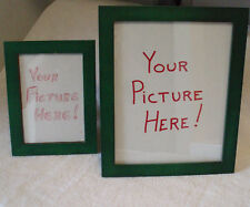 TWO WOOD PHOTO FRAMES WITH GLASS PLATING(FOREST GREEN IN COLOR)
