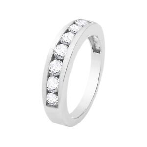 925 Sterling Silver 7 Stone Cubic Zirconia Wedding band ring.